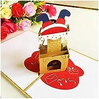 zhangzidong 3Dサンタカード結婚クリスマスグリーティングカードパーティー招待状ギフト新年のグリーティングカード記念日ギフトポストカード-6