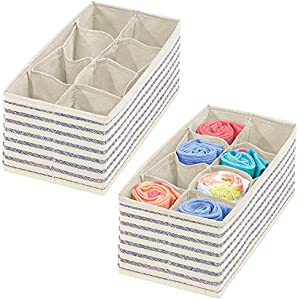 mDesign Juego de 2 cestas organizadoras – Versátiles separadores de cajones con 8 compartimentos cada uno – Cestas plegables de tela para accesorios de bebé, ropa interior, etc. – color natural/azul