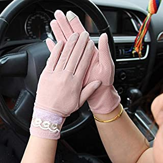 Women Touch Screen Lace Gloves Motorcycle Anti-UV Driving Riding Full Finger - Pink