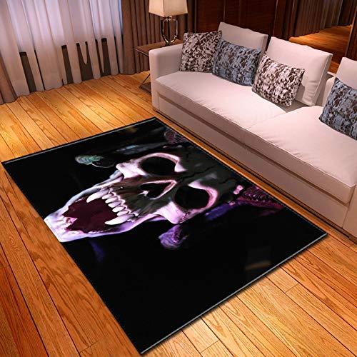 LGXINGLIyidian Casa Alfombra Serie Creativa del Cráneo del Demonio Oscuro Alfombra Suave Antideslizante De Decoración del Hogar De Impresión 3D T-2309K 120X180Cm