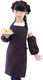 Foonee Kids Apron and Chef Hat Set with Sleeves, Boys Girls Adjustable Child Apron with Pocket for Cooking Baking Painting Training Wear