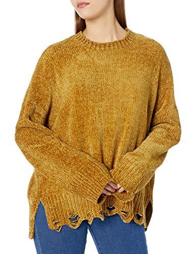 Show Me Your Mumu Damen Fawn Sweater Pullover, Ockerfarbener Chenille-Strick, Klein