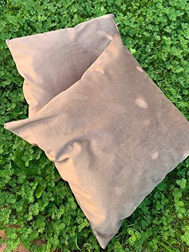 T&S - Par de fundas para cojines de sofá de tela de terciopelo suave – Color marrón medida 45 x 45 cm – Fabricado en Italia