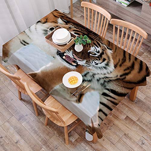 Mantel Antimanchas Rectangular Impermeable,Tigre, primer plano de Panthera Tigris Altaica Siberiano gigante depredad,Manteles Mesa Decorativo para Hogar Comedor del Cocina,(140 x 200 cm/55*78 pulgada)