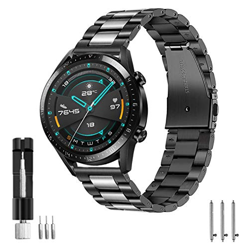 Aimtel Armband Kompatibel mit Huawei Watch GT 2 Armband 46mm/ Huawei Watch GT2e Armband, 22mm Edelstahl Metall Ersatzarmband für Huawei GT 2/Huawei Watch GT/Active/GT2 Pro/GT 2e(Schwarzes Silber)