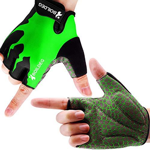 boildeg Fahrradhandschuhe Radsporthandschuhe rutschfeste und stoßdämpfende Mountainbike Handschuhe mit Signalfarbe geeiget Unisex Herren Damen (Grün, M)