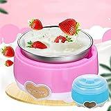 Mini yogurtiera, macchina per yogurt 220V / macchina per yogurt automatica da 1L + strumenti per yogurt fai da te per la casa, utensili da cucina/riscaldamento uniforme a 360 ° Pink