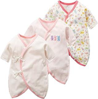 Mum&nny 新生児肌着 コンビ肌着 ベビー服インナー 出産祝い 春夏秋冬 (3枚 ピンク)