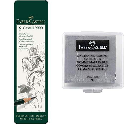 Faber-Castell 119063 Bleistift Castell 9000, 6-er Etui & Faber-Castell 127220 - Knetradiergummi Art Eraser, grau