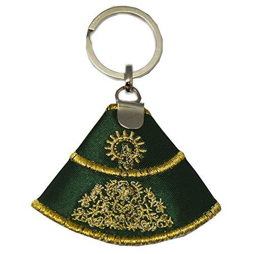 Capote Seda Virgen del Pilar. Llavero 9,5 CM. Verde con Bordado Color Oro.