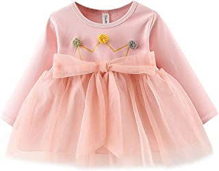 Xifamniy Infant Girls Dresses Long Sleeve Crown Print Cotton Round Neck Tulle Skirt