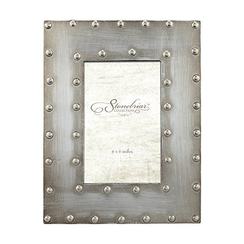 Stonebriar Industrial Distressed Metal Photo Frame with Rivet Detail, Decorative Picture Frame for Table Top or Wall Hanging Display, 4x6