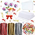 2900 Pieces Candy Cake Pop Sticks Set Including 200 Lollipop Sticks and 200 Cellophane Treat Plastic Bags with 2400 Mix Colors Metallic Twist Ties and 100 Bow Twist Ties for Candy Lollipop Cake Pop from Patelai