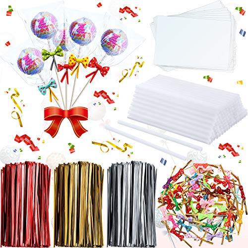 2900 Pieces Candy Cake Pop Sticks Set Including 200 Lollipop Sticks and 200 Cellophane Treat Plastic Bags with 2400 Mix Colors Metallic Twist Ties and 100 Bow Twist Ties for Candy Lollipop Cake Pop