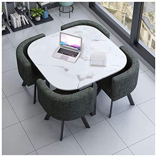 Esstisch Und Stühle 4 Heim Wohnzimmer Küche Freizeit Tisch Büro Konferenzraum Empfang Verhandlung 1 Tisch 4 Stühle Skandinavische Minimalistischer Stil 90 cm Baumwoll-Leinen-Stuhl Runder Tisch/Quadr