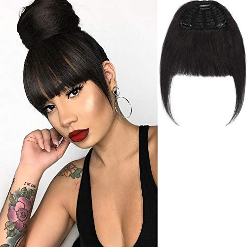 New Fashion Clip in Bangs One Piece Fringe 100% Natural Remy Human Hair Extensions Hairpiece Neat Fringe Hand Tied Thick Straight Bangs with Temple...