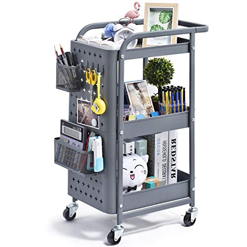 kingrack Storage Trolley, 3-Tier Rolling Cart, Utility Cart Metal Shelving with Peg board Hooks Baskets Handles Locking Wheels, Mobile Storage Rack for Kitchen Office Garage Home wkuk130902 (Grey)