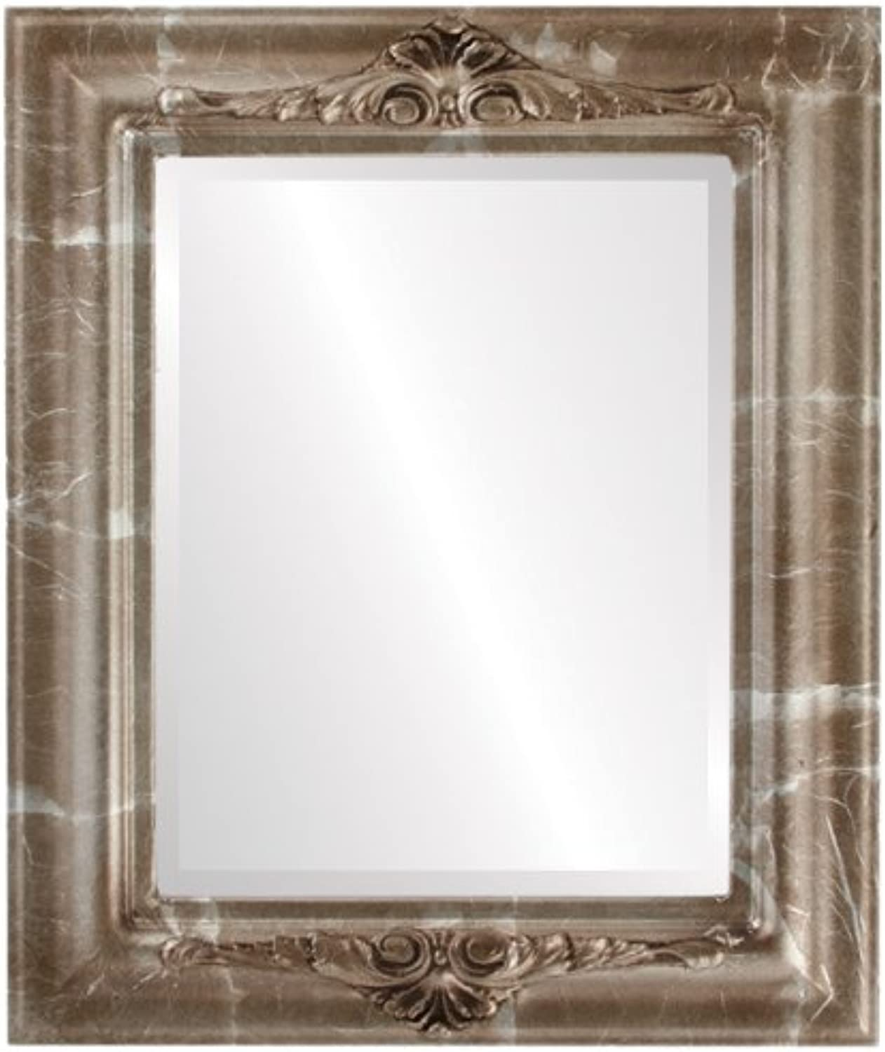 OvalAndRoundMirrors  Rectangle Beveled Mirror in a Winchester style Champagne Silver frame with 17x21 outside dimensions
