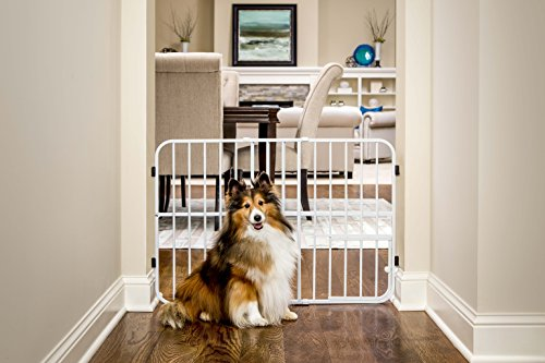 Carlson Pet Products Tuffy Metal Expandable Pet Gate, Includes Small Pet Door, 24 x 26-42 inch, Beige, Model:0624 DS