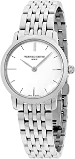Frederique Constant Slimline Ultra Flat Ladies White Dial Stainless Steel Swiss Watch FC-200S1S36B3