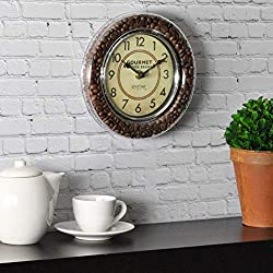 FirsTime & Co. Gourmet Café Wall Clock, 7.5, Brown, Silver