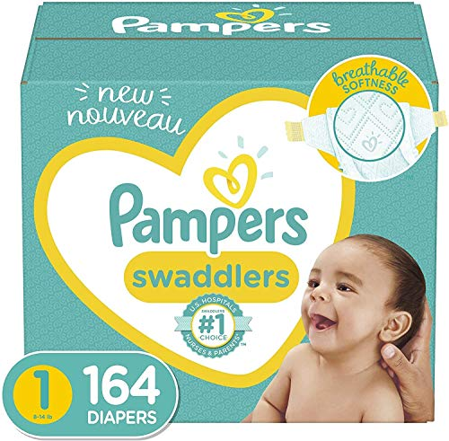 Diapers Newborn/Size 1 814 lb 164 Count  Pampers Swaddlers Disposable Baby Diapers Enormous Pack