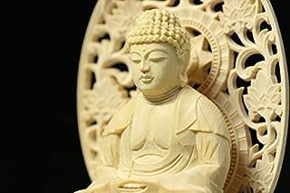 Yamako Buddha Statue Plain Wood Hexagonal Pedestal (11.8 H x 5.4 W x 3.9 D inches)