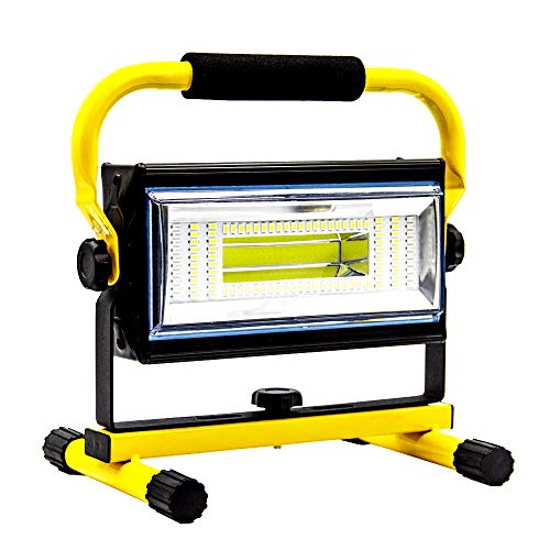 Sylstar COB LED Work Light, 100W Rechargeable Portable Floodlight 7000 Lumens 14400 mAh IP65 Waterproof Battery Spotlight, Free with Car charger