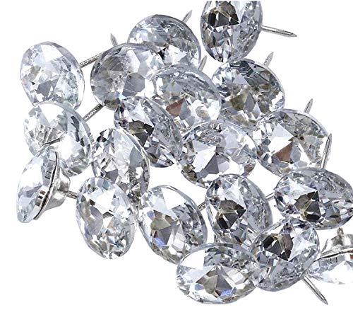 abcGoodefg 60PCS Rhinestone Sew Buttons Diamond Crystal Upholstery Nails Tacks Sofa Wall DIY Crafts Decoration (25MM)