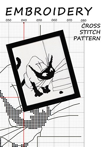 Instant Download PDF Black White Pattern Best Gift Digital Hand Embroidery Pattern #05010 Color Pattern Cat/'s Eyes