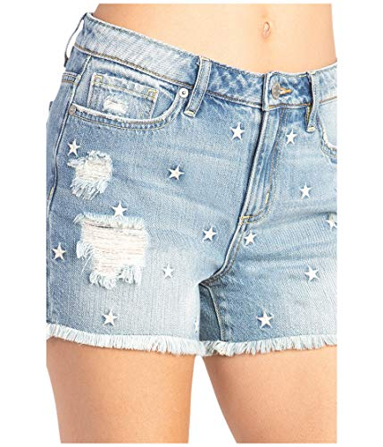 Miss Me Star Mid-Rise Relaxed Shorts Vintage Blue 27 3.5