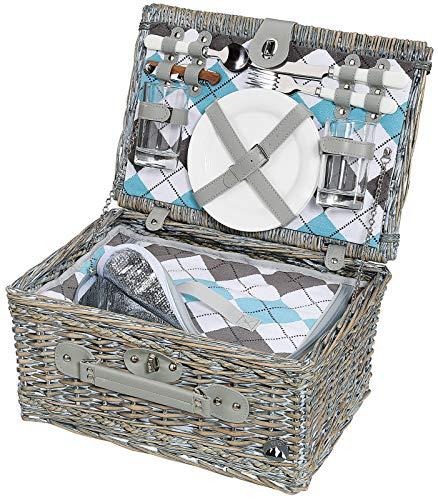 Cilio 155716 - Cesta de picnic con cubiertos, platos y