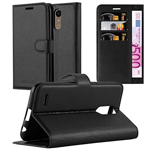 Cadorabo Hülle für LG K10 2017 - Hülle in Phantom SCHWARZ – Handyhülle mit Kartenfach und Standfunktion - Case Cover Schutzhülle Etui Tasche Book Klapp Style