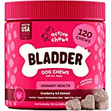 Active Chews Cranberry for Dogs   Dog UTI Treatment for Incontinence, Bladder Control & Kidney Support   120 Soft Cranberry Chews Immune System Support for Canine Pets