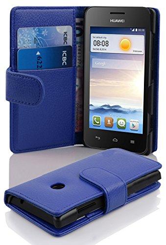 Cadorabo Hülle für Huawei Ascend Y330 - Hülle in KÖNIGS BLAU – Handyhülle mit Kartenfach aus struktriertem Kunstleder - Case Cover Schutzhülle Etui Tasche Book Klapp Style