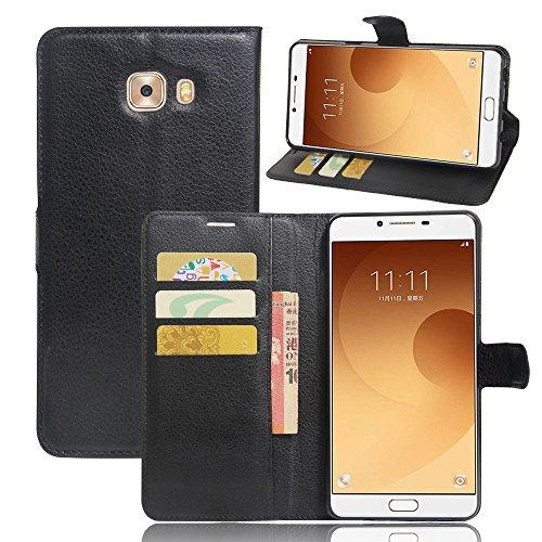 JARNING Compatibile con Samsung Galaxy C9 PRO C9000 C900Y 6.0 inch Custodia Cover PU Pelle Wallet Flip Case Portafoglio Funzione Stand Magnetica Chiusura -Nero