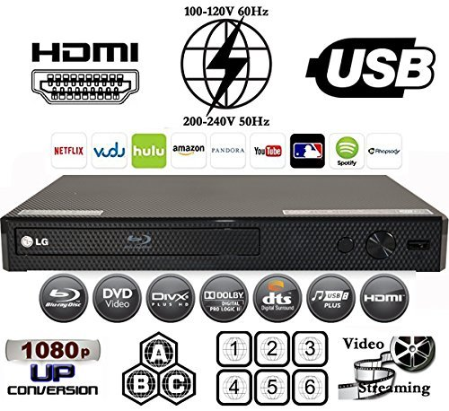 LG BP550 Multi System All Zone Region Free Blu Ray DVD Player + 6FT HDMI Cable & M-System Plug Adapter Bundle Package