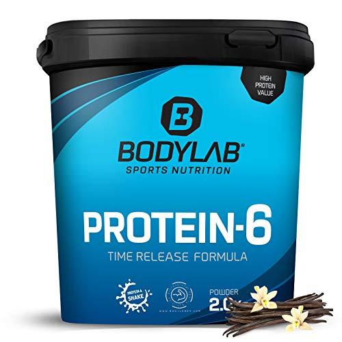 Bodylab24 Protein-6 Vanille 2kg / Mehrkomponenten Protein Vanille, Eiweißpulver aus 6 hochwertigen Eiweiß-Quellen / Protein-Shake für Muskelaufbau