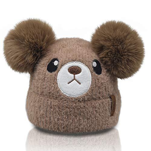 Kids Winter Beanie Knitted Hats for Girls Boys Toddler Baby, Bear Cartoon Animal Faux Fur Double Pom Pom Bobble Warm Soft Fleece Cute Infant Stocking Cap For Children