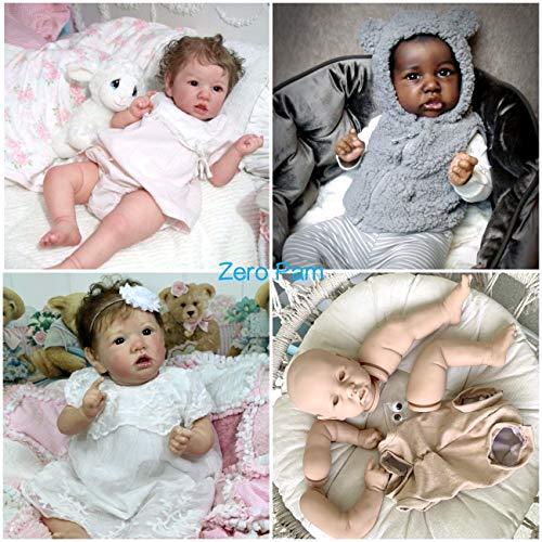 Zero Pam Kits de muñecas Reborn sin Pintar de 55 cm Kits de muñecas para Principiantes DIY muñeca Accesorios Cabeza + extremidades + Cuerpo de Tela + Ojos Marrones