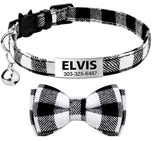 TagME Collar de Gato Personalizado, con Placa de Identificación Personalizable y Hebilla de Liberación Rápida Corbata de Moño Collar de Gato, 1 Paquete Negro