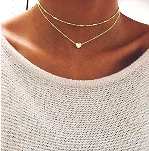 Damen Halskette mit kleinem Herz in Gold | Zwei Ketten aus Edelstahl | Doppelkette einzel tragbar…