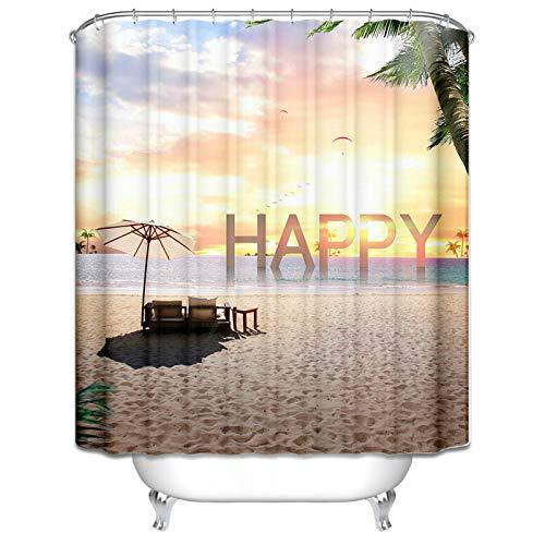 Aeici Duschvorhang 180X200 cm Englisch Happy Meer Strand Polyester Badewannenvorhang Textil Hellbraun Duschvorhang für Badezimmer