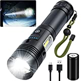 XHP70.2 Rechargeable Led Flashlight High Lumens, Alifa 90000 Lumens Super Bright Zoomable Waterproof Flashlight, Brightest Powerful LED Flashlight with Battery Included, Zoomable, 7 Light Modes