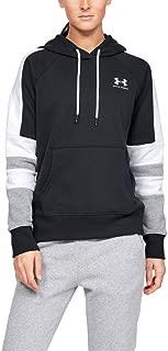Under Armour Women's Rival Fleece Lc Logo Hoodie Novelty Hoodie, Black (Black/Onyx White), Large