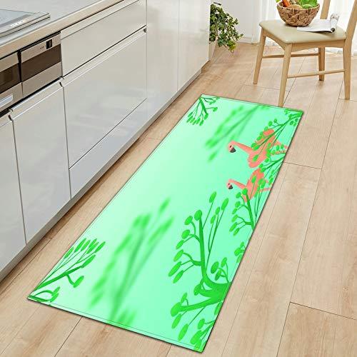 HLXX Alfombrilla con Estampado de flamencos 3D, Felpudo para Puerta de Entrada, Alfombrilla para Suelo, Alfombra para Cocina, alfombras para niños para habitación, Alfombra A15, 50x160cm