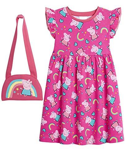 Peppa Pig Sukienki dziewczęce, 100% bawełniane ubrania dla dziewcząt, tęczowa sukienka z nadrukiem peppa, letnie sukienki dla dziewcząt, tęczowe prezenty dla dziewczynek małych dzieci w wieku od 12 miesięcy do 5 lat