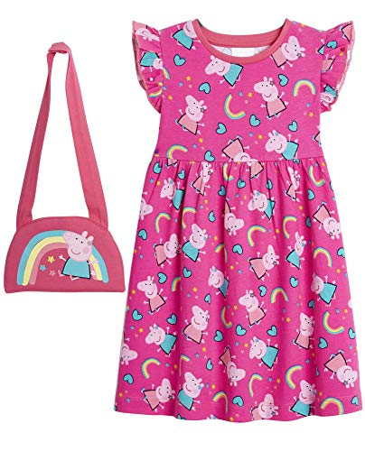 Peppa Pig Vestido Verano, Vestidos Niña con Estampados de Peppa y Arco Iris, Ropa Niña 100% Algodon, Vestidos Manga Corta y Manga Larga, Regalos para Niñas 12 Meses a 5 Años (3-4 años, Rosa)