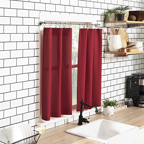 No. 918 Martine Microfiber Semi-Sheer Rod Pocket Kitchen Curtain Valance and Tiers Set, 54