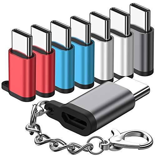 Micro USB to USB C Adapter,(8-Packs)Aluminum USB Type C Adapter Convert Connector with Keychain Charger Compatible Samsung Galaxy S10 S9 S8 Plus Note 9 8, LG V40 V35 G8 G7,Google Pixel 3 XL,Moto Z2 Z3